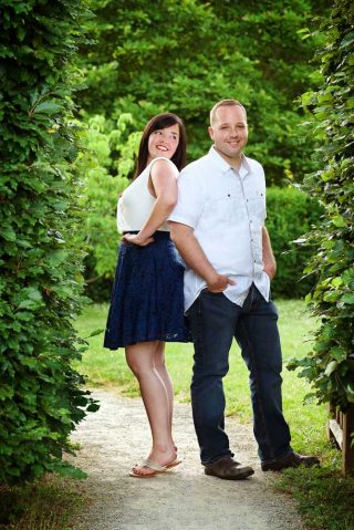 Engagement portrait in English garden at the Arboretum Centre, University of Guelph, Ontario.