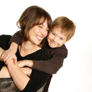 Guelph studio portrait of a woman and her child.