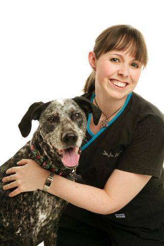 Business portrait with pet taken in a veterinary clinic in Guelph, Ontario.