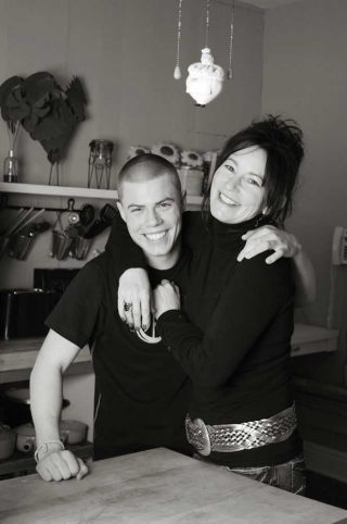 A mother and son portrait taken by Trina Koster in their kitchen, Guelph.