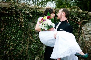 Bridal photoshoot with her new husband after their wedding.