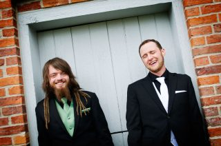 Bestmen dressed up in suits at a Guelph wedding venue.