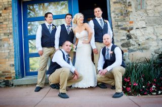 Bridal photos with the bestmen of the groom in Guelph, Ontario.