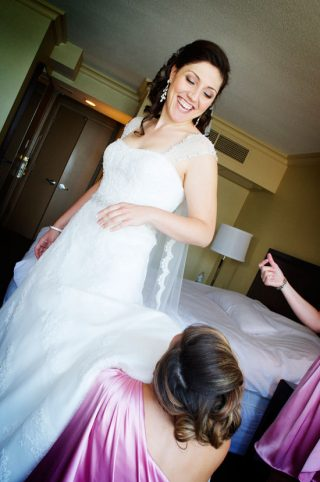Bride in her dress by Guelph wedding photographer Jeannine Brady.
