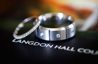 Wedding shots of a ring and wedding band taken at Langdon Hall, Cambridge.