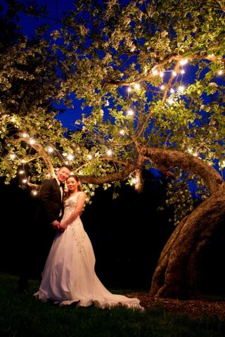 Bride and groom dancing underneath a light-decorated tree at night outside of Orchard Room at Langdon Hall.