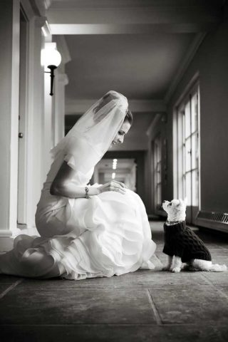 Langdon Hall wedding photography of a bride with her child in black and white.