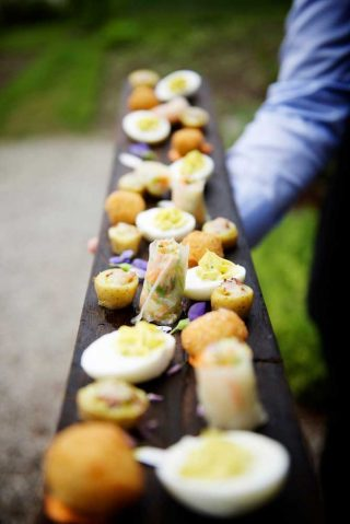 An array of food laid out for guests at the ceremony.