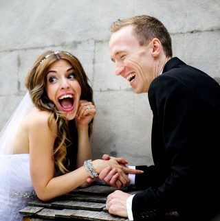 Wedding photographer Trina Koster captures a funny moment between the bride and groom at Langdon Hall.