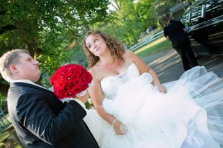 Bride and her dad captured by Cambridge wedding photographer Trina Koster.