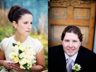 Diptic photograph of husband and wife before their wedding.