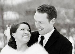 Winter wedding photography taken in black and white.
