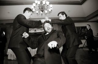 Guests having fun at a wedding after party in Cambridge, Ontario.