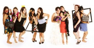 Studio photography of the soon to be bride with her bridesmaids.
