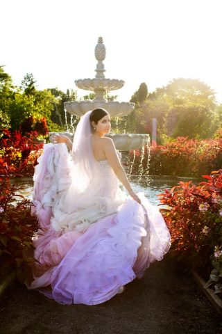 Bride with blue and pink in her dress at the Royal Botanical Gardens in Burlington, Ontario.