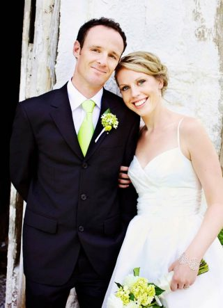 Man and his wife smiling for after becoming newlyweds in Guelph.