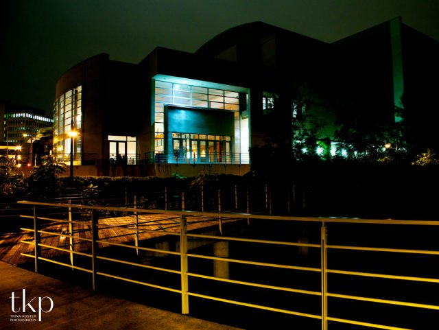River run centre at night in Guelph