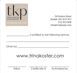 front side of gift certificate
