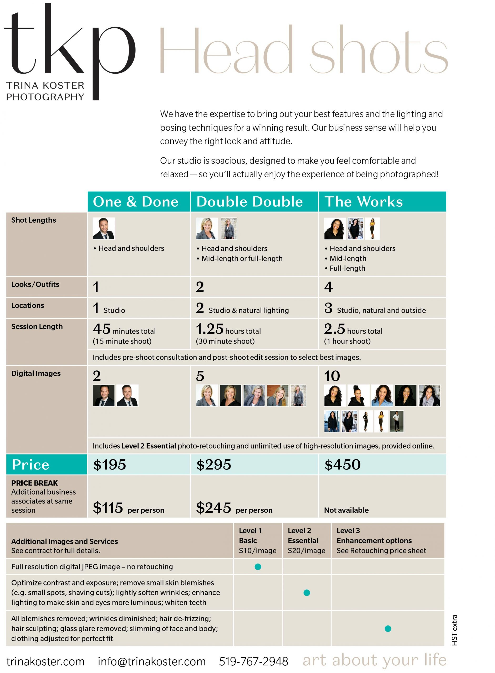 headshot pricing chart